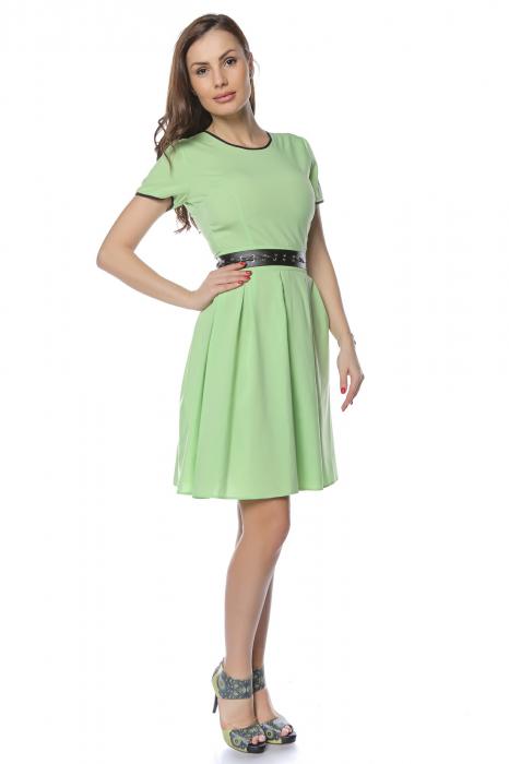 Rochie dama casual verde cu aplicatie piele ecologica in talie RO241