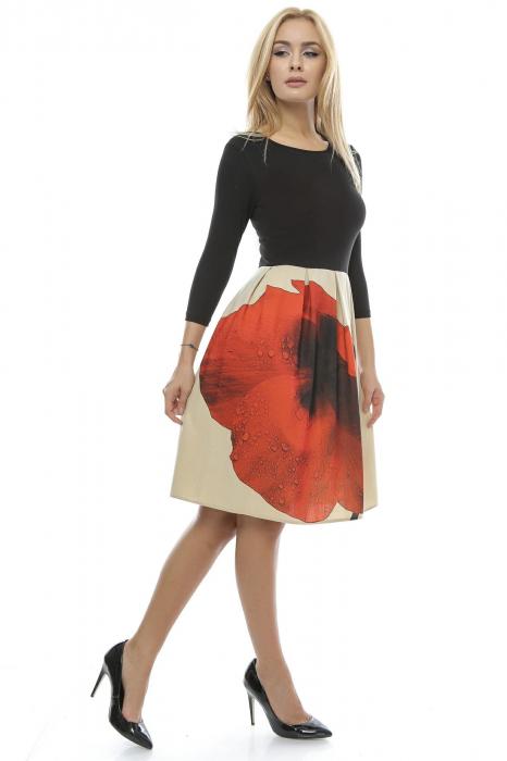 Rochie dama cu fusta imprimata RO123, L