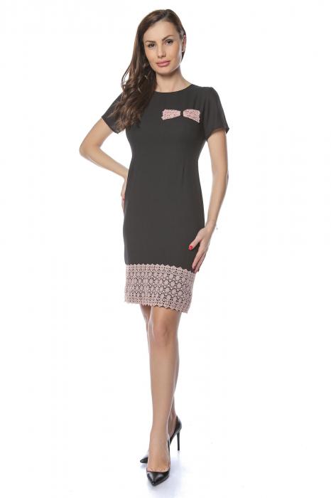 Rochie dama eleganta neagra cu dantela brodata aplicata RO235
