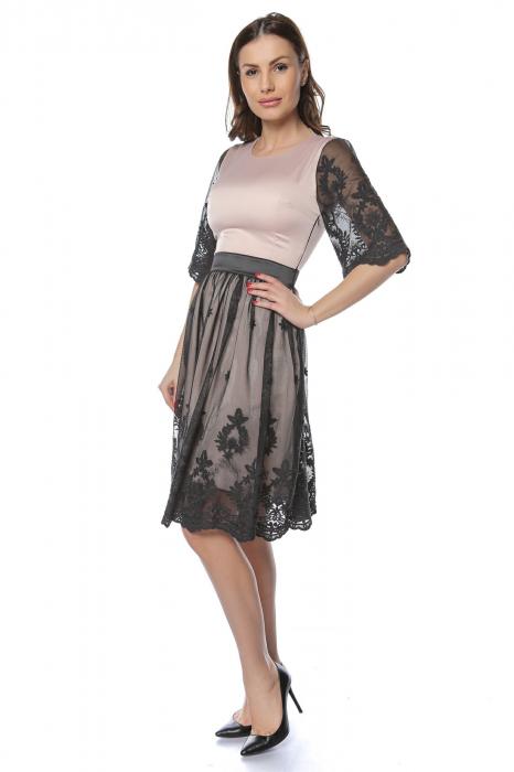Rochie eleganta din satin cu aplicatie de tul brodat RO220