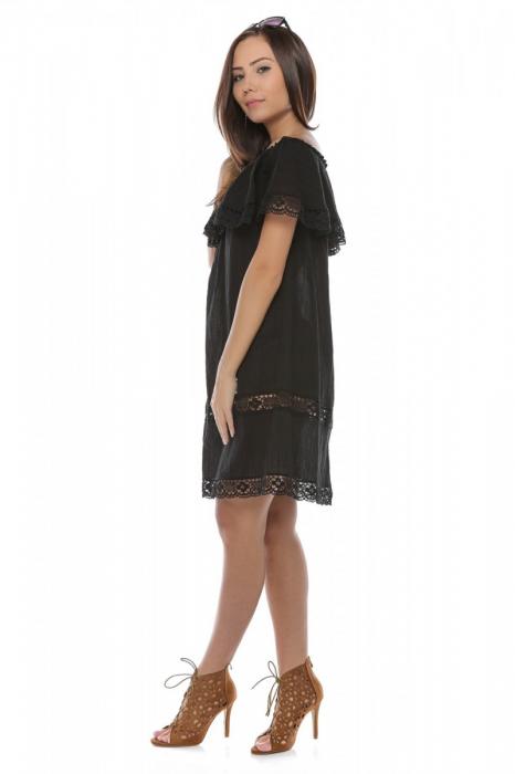 Rochie scurta neagra din panza topita Alba