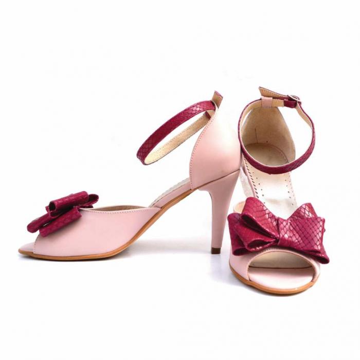 Sandale dama cu toc Pink Bow din piele naturala