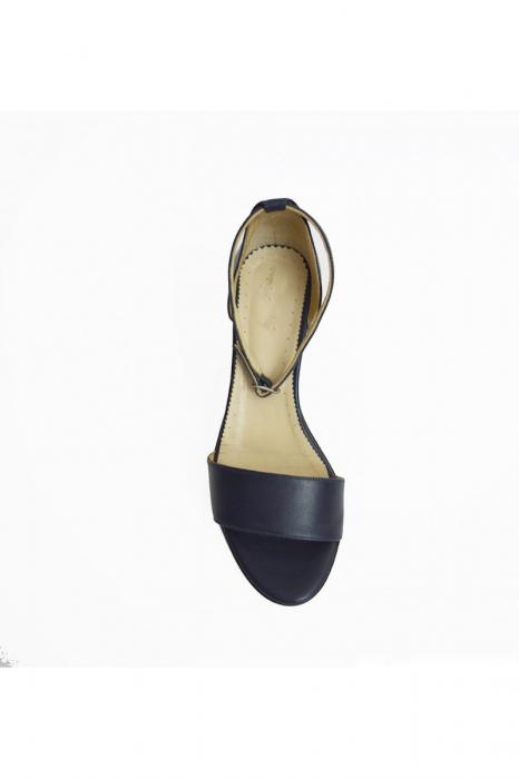 Sandale dama cu toc jos Navy Strap