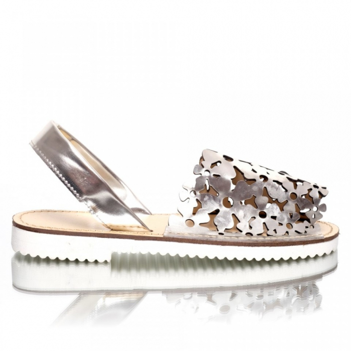 Sandale dama tip Avarca Argintiu Oglinda Perforat