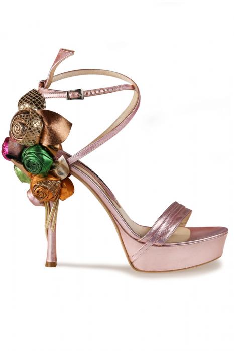 Sandale Mihai Albu din piele Pink Flowers
