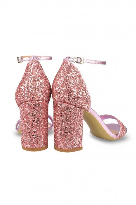 Sandale Mihai Albu din piele Pink Glitter