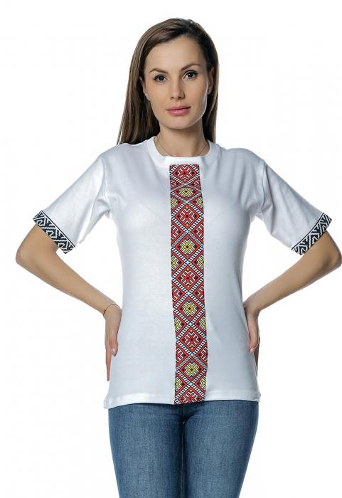Tricou dama alb cu insertii motive traditionale printate B128