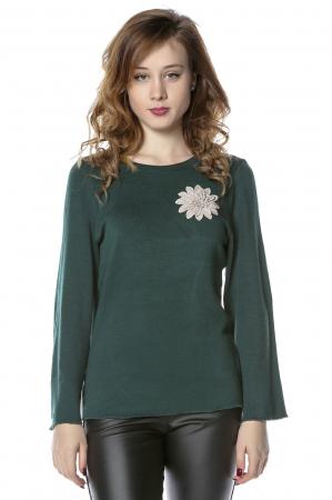 Bluza verde din jerse cu floare aplicata B116