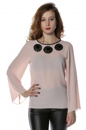 Bluza eleganta din voal nude cu aplicatii negre B118