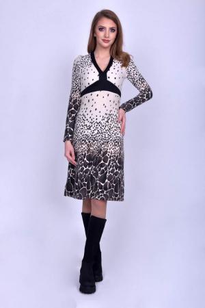 Rochie casual V-neck cu maneci lungi Animal Print
