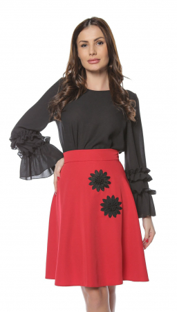 Fusta cloche rosie cu aplicatii florale negre FS85