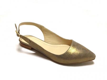 Balerini decupati din piele Gold Lia