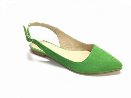 Balerini decupati din piele Lia Velvet Green