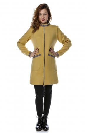 Palton dama din stofa galbena stil tunica PF25