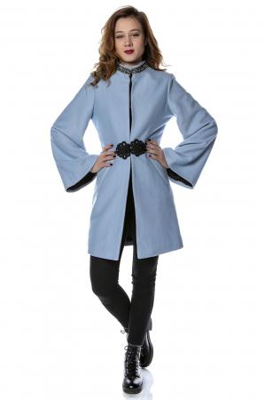 Palton dama din stofa bleu cu maneci clopot PF26