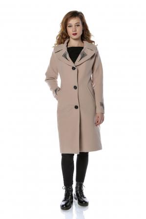 Palton dama din stofa roz pudra cu broderie PF28, M