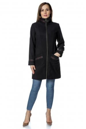 Palton negru dama din stofa cu fermoar PF30
