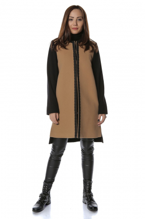 Palton bicolor din stofa de lana Elisa