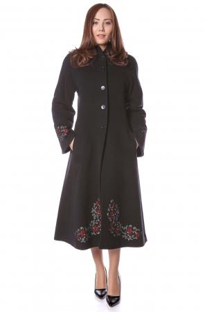 Palton lung brodat din stofa de lana Domnica