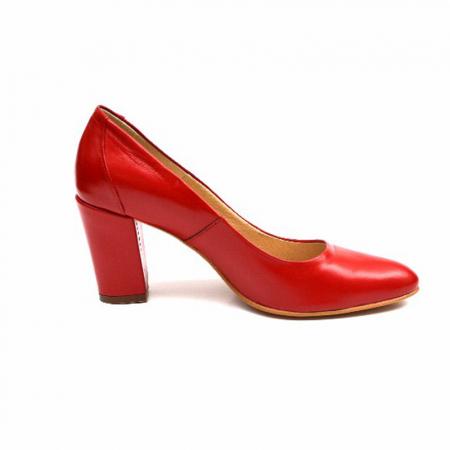 Pantofi cu toc gros din piele naturala Red Wish