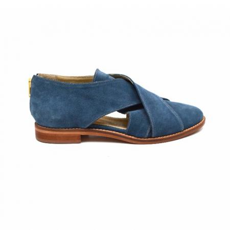 Pantofi dama din piele intoarsa Cross Blue