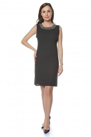 Rochie dama eleganta neagra cu margele multicolore la gat RO236