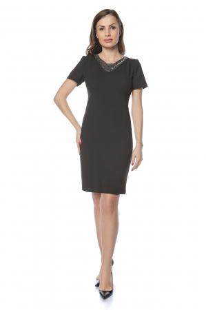 Rochie dama eleganta neagra cu aplicatie margele la gat RO237