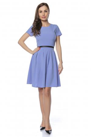 Rochie dama casual bleu cu aplicatie piele ecologica in talie RO238