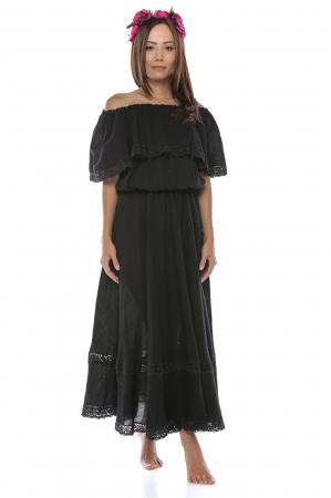 Rochie lunga neagra din panza topita Anuca