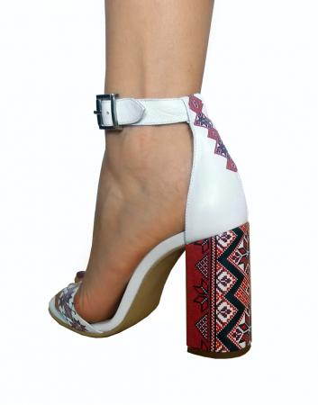 Sandale din piele naturala Romanian Motifs White