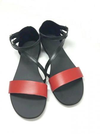 Sandale dama din piele Black and Red Anna