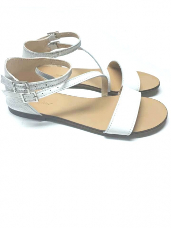 Sandale dama din piele White and Silver Anna