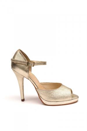 Sandale din piele cu toc stiletto Gold