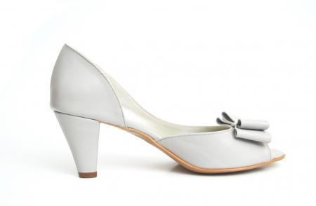 Sandale dama cu toc jos Grey Bow