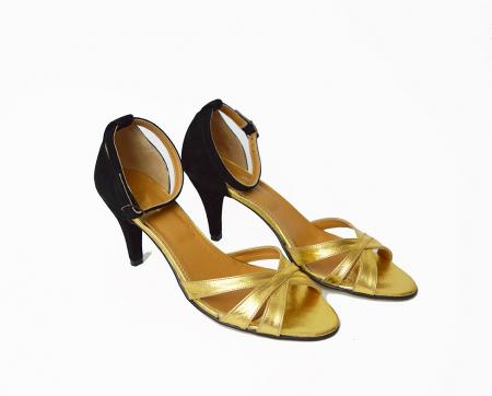 Sandale dama cu toc jos Gold Straps