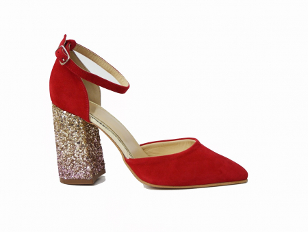 Pantofi din piele naturala cu toc gros Red Glitter