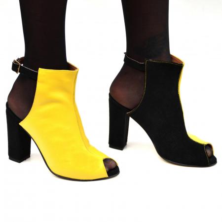 Botine dama din piele in doua culori Yellow Black