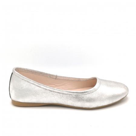 Balerini din piele argintii
