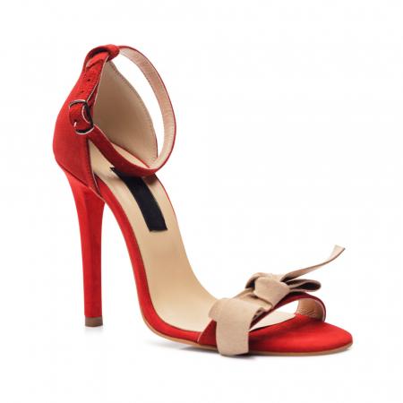 Sandale rosii cu toc inalt si funda nude din piele intoarsa
