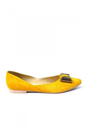 Balerini dama din piele intoarsa Yellow Bow