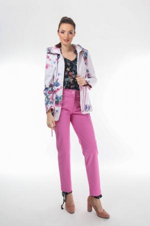 Pantaloni conici dama din stofa roz