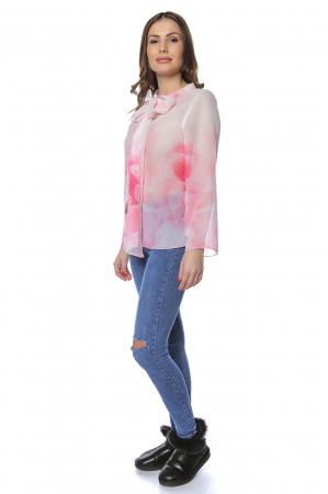 Bluza dama din voal imprimat Pink B122