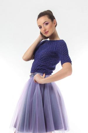 Top dama tricotat indigo si maneci trei sferturi