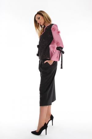 Bluza eleganta in doua culori suprapuse roz si negru