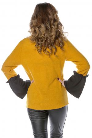 Bluza galbena din jerse cu volane aplicate la maneci B114
