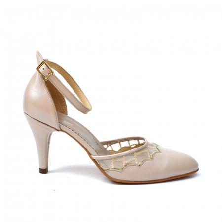 Pantofi dama eleganti cu toc jos Grey Lace