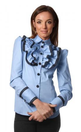 Camasa office albastra cu jabou si maneci lungi