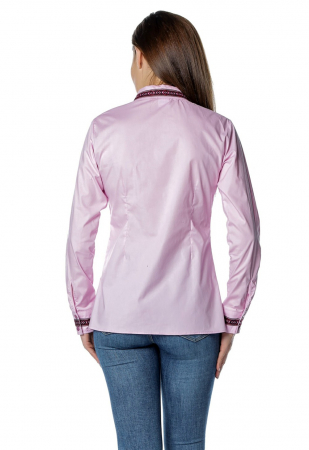Camasa office roz cu banda multicolora aplicata B149