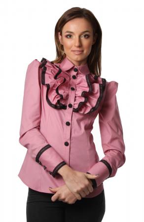 Camasa office roz cu jabou si maneci lungi
