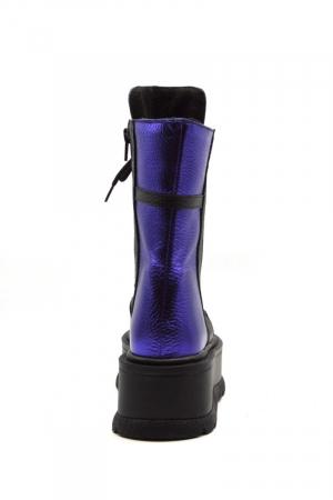 Ghete din piele naturala cu platforma Metal Purple